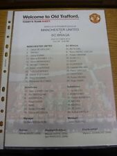 23/10/2012 Colour Teamsheet: Manchester United v Braga  . Thanks for viewing our
