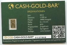 CGB Cash-Gold-Bar 1/100 Unze Gold 2013 Coin Card Mini Goldbarren Springbock