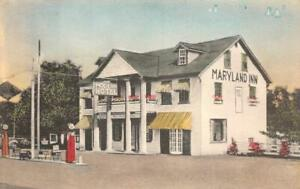 THE MARYLAND INN HOTEL GAS PUMPS RISING SUN MARYLAND HAND COLORED POSTCARD 1930s
