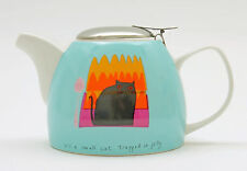Jane Orme Thinking Cat 650ml 2 Cup Teapot Porcelain Stainless Steel Filter Boxed