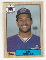 ED NUNEZ 1987 Topps #427 Seattle Mariners Error Variation Oddball Blank Back
