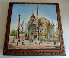 "1900 PARIS EXPOSITION UNIVERSELLE TILE TEAPOT STAND 10"" x 10"""