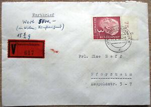 Bund Heuss 3 Mark Oberrand Mi.Nr. 196 als EF auf Wertbrief Donauschingen