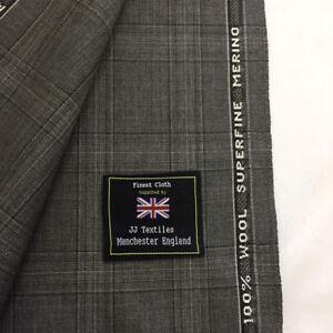 Gris a Cuadros Ligero Extrafino Merino Lana Suit Tela Hecho en Inglaterra