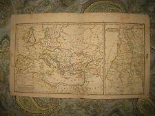 SUPERB ANTIQUE 1828 ROMAN EMPIRE PALESTINE ISRAEL EUROPE ITALY HANDCOLORED MAP