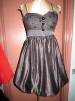 Betsey Johnson black bubble cocktail babydoll dress lace bustier top  sz 4