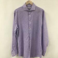 Mens 16 34 - 35 Slim Fit ISAAC MIZRAHI Linen Cotton Dress Shirt Purple Spread 33