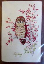 "Spring Owl tree flowers crewel embroidery kit 6"" x 9"" New Needlework Plus"