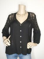 New Love Stitch Medium Black Sheer Lace Bell Sleeve Button Top Shirt Blouse