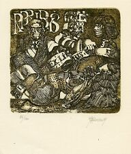 Abstract,  Surrealistic, Limited Edition Ex libris Etching by Jaak Adamson