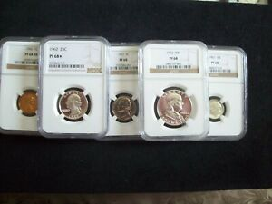 """1962, 5 Piece Franklin Proof Set, Certified """"Proof 68 & 68 Star""""  By NGC  WOW!!"""
