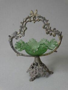 Antike Bonboniere - Anbietschale rund - Glas grün - Metallmontur Messing - 1910