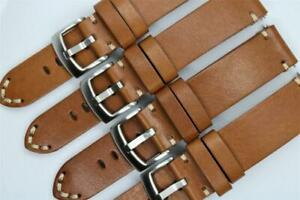 Handmade Watch Strap Double Layer Cowhide Corners Stitch Light Brown