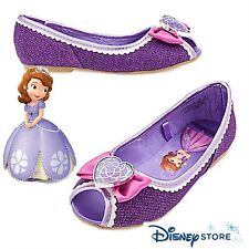 Disney Store NEW Sofia the First Glittering Dress Up Shoes Satin Bow  2/3 Girls