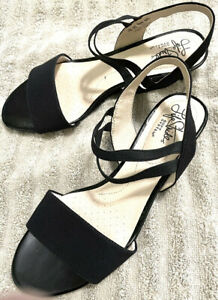 LifeStride Women's Shoes Sandals Ankle Strap Wedge Black Size 7.5 Patent Leather