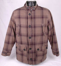 QUICKSILVER Lined Flannel Coat/Jacket-L-Olive Green-Quilted-Button & Zipper