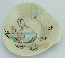 MCM Mid Century Modern Red Wing Bob White Vegetable Bowl Dish Bird Turquoise