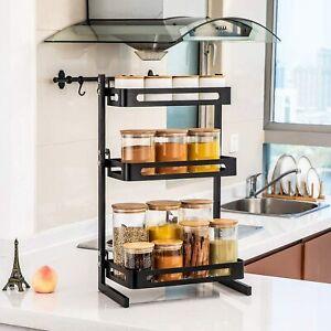 3 Ablagen Küchenregal Gewürzregal Küchen- und Badezimmerarbeitsplattenregal