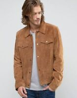 New Soft Men Lambskin Motorcycle Biker Suede Leather Jacket Cafe Racer Vest 739
