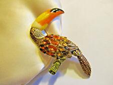 Toucan Bird Figural Brooch Pin Fashion Designer Rhinestone Enamel Collectible