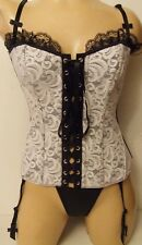 FAB  BLACK AND WHITE LACE BONED CORSET REVERSIBLE  AND SUSPENDERS THONG 12 NEW