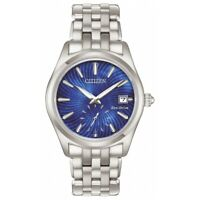 Citizen Eco-Drive Women's Blue Dial Silver-Tone Bracelet Watch 36mm EV1030-57N