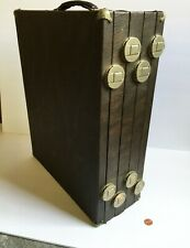 Antique Jewelry Salesman Traveling Case w 4 Velvet Compartments