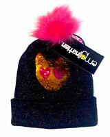 Winter Hat EmojiNation Girls' Black Sparkle Sequin Cat Emoji Beanie One Size