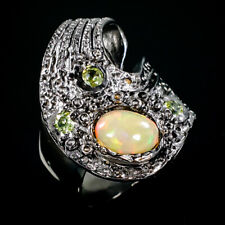 Beauty Rainbow8x6mm Natural Opal 925 Sterling Silver Ring Size 8/R85464