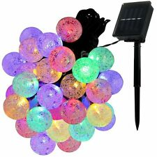 ILLUNITE Solar String Lights Outdoor Indoor 20 feet 30 LED Crystal Ball Fairy