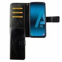 Samsung Galaxy A40 Étui Coque pour Portable Sac de Protection Clapet Housse Noir