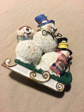 Grandmas Estate Snowmen Resin Beautiful Brooch (Mia)