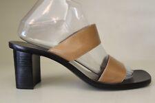 Ann Taylor Womens Heels Sz 8.5 M Brown Leather Strappy Slide Sandal Mule Shoes