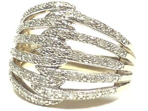 Beautiful Ladies Sterling Silver Gold Vermeil Diamond Ring -Signed THL-Size 9.25
