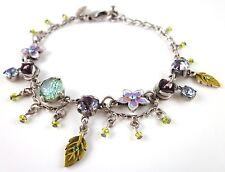 £35 Silver Purple Green Blue Flower Charm Bracelet Swarovski Elements Crystal