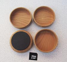 4 X Wood Grain Castor Cups Non Slip Floor Protector Rubber Base Anti Scratch