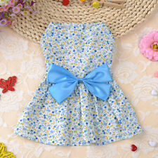 Small Dog Cat Dress Cute Bow Tie Skirt Puppy Pet Clothes Teddy Apparel blue S
