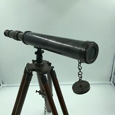 "Antique Marine Nautical Navy Brass Telescope 15"" With Wooden Tripod Stand New"