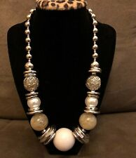 "Signed Latasia Silver Tone Beaded Designer Necklace - 22"""
