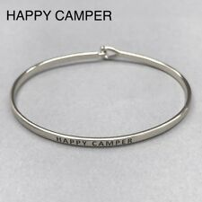 Engraved Classic Brass Bangle Bracelet Silver Finish Happy Camper Message