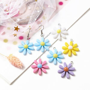 10Pcs Multicolor Daisy Flower Charms Pendant For DIY Earrings Necklace Jewelry