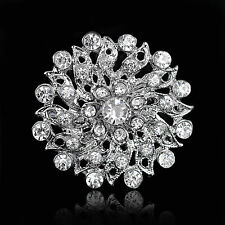 FLOWER SILVER BROACH DIAMANTE RHINESTONE CRYSTAL FLOWER BROOCH WEDDING PARTYS