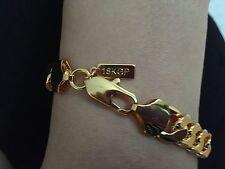 "Lifetime 9"" 10mm 18K Gold Plated Fashion Chain Bracelet Anklet Man Birthday Gift"