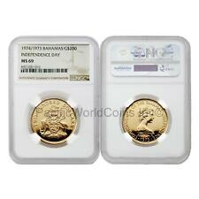 Bahamas 1974/1973 Independence Day $200 Gold NGC MS69
