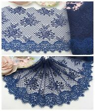 """7""""*1Y Embroidered Floral Tulle Lace Trim~Navy Blue~Charming Choice~Elegant~SALE~"""