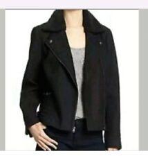 BNWT BANANA REPUBLIC FACTORY Wool Moto Jacket XSP Removable Sherpa Collar Black