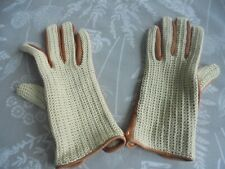 {Vintage Unworn Leather & Crochet Cotton Driving Gloves Size 7 (Maybe Dent's)