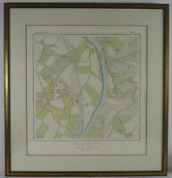 Lithographie: Karte von Heisingen 1803-1806 / 1966. ca.50x47cm.  Essen