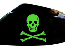 Skull Crossbones Car Stickers Wing Mirror Styling Decals (Set of 2), Neon Green
