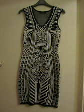 Black & White Geo Pattern Stretch Cotton Dress in Size 8 - NWOT